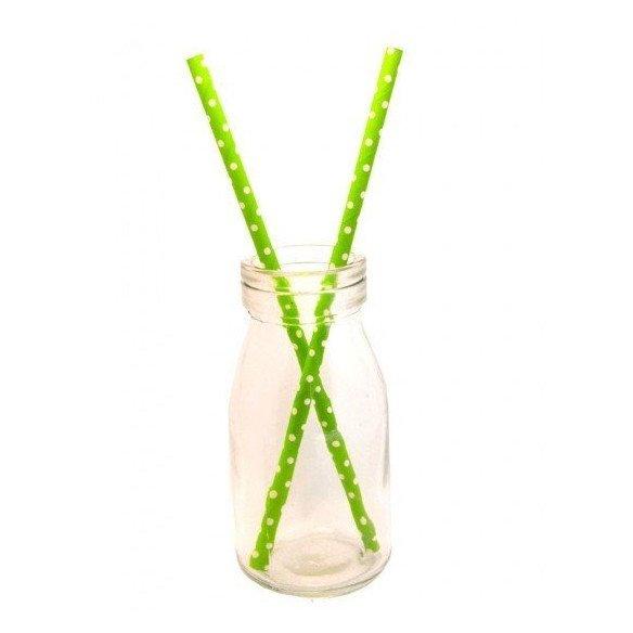 Pailles à pois vert et blancX25