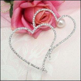 Décoration gateau mariage double coeur strass