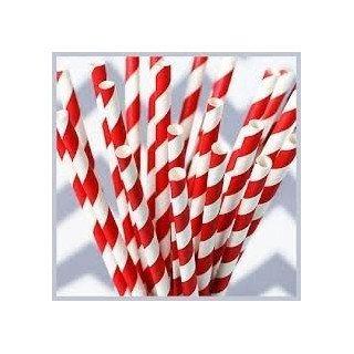 Paille rayées Rouge et blancX25