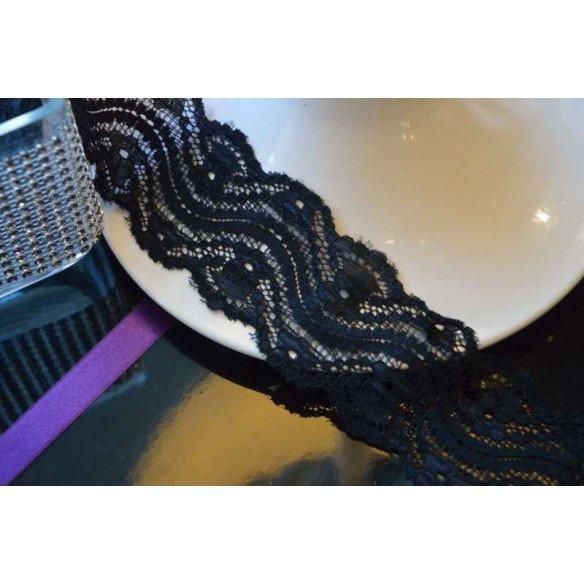 Ruban dentelle noir 5cm de large bande de 5M