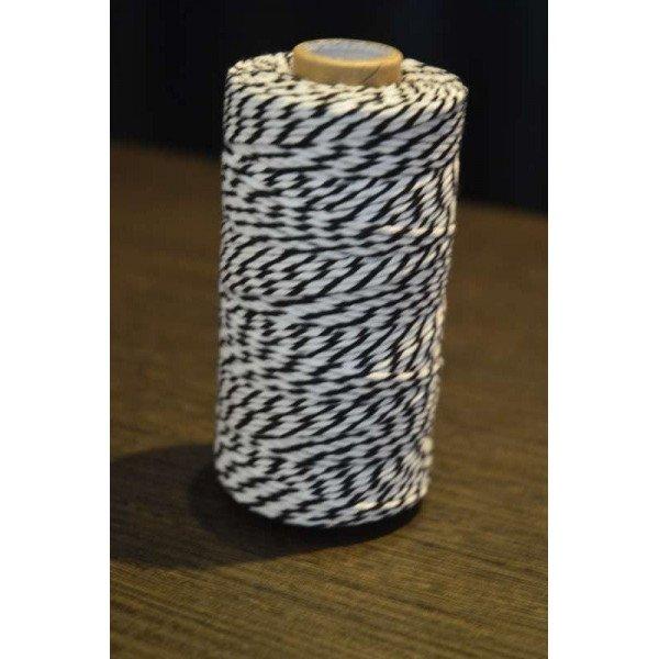 Ficelle coton baker twine noir et blanc 100m