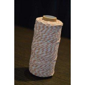 Ficelle coton baker twine corail et blanc 100m