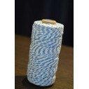 Ficelle coton baker twine bleu turquoise et blanc 100m