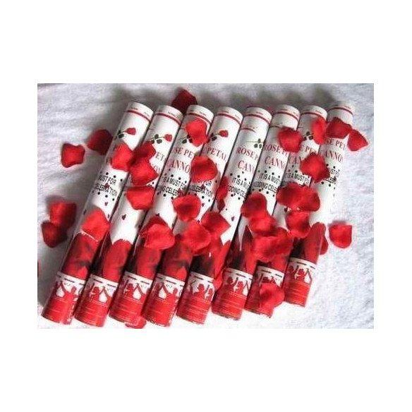 Canon à confettis de pétales de roses rouges