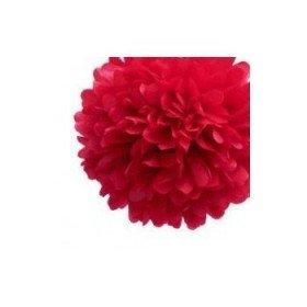 Pompon Fleur Papier de Soie Rouge 20cm