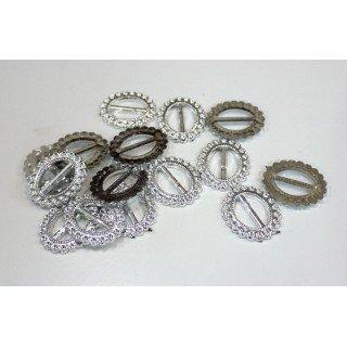 Boucle passe ruban ovale argent acrylique (sachet de 100)