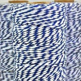 Ficelle coton baker twine bleu marine et blanc 100m