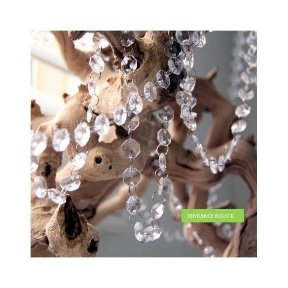 Guirlande de faux diamants cristal+pampille (le mètre)