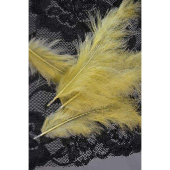 Plume jaune citron décoration (sachet de 20)