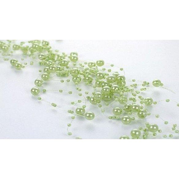 Guirlande de perles vert anis (BOBINE 42 mètres)