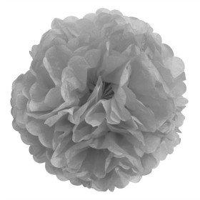 Pompon Fleur Papier de Soie gris 20cm