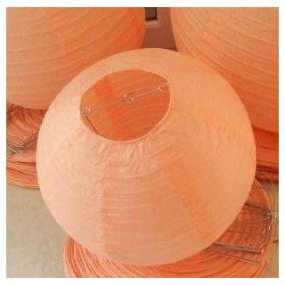 Boule Lampion papier corail pêche 30cm