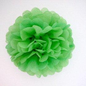 Pompon Fleur Papier de Soie vert prairie 20cm