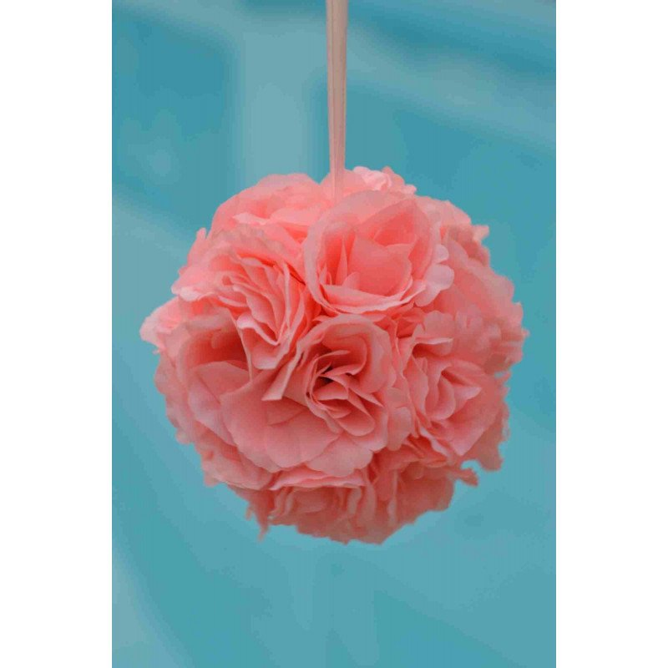 Boule de fleur artificielle mariage pêche 20cm
