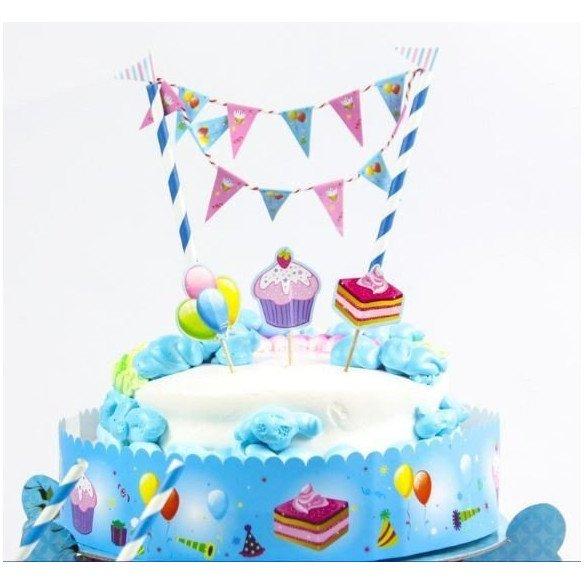 Kit décoration gâteau d'anniversaire (paille et guirlande)