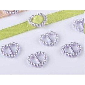 Boucle passe ruban cœur perle gris(sachet de 100)