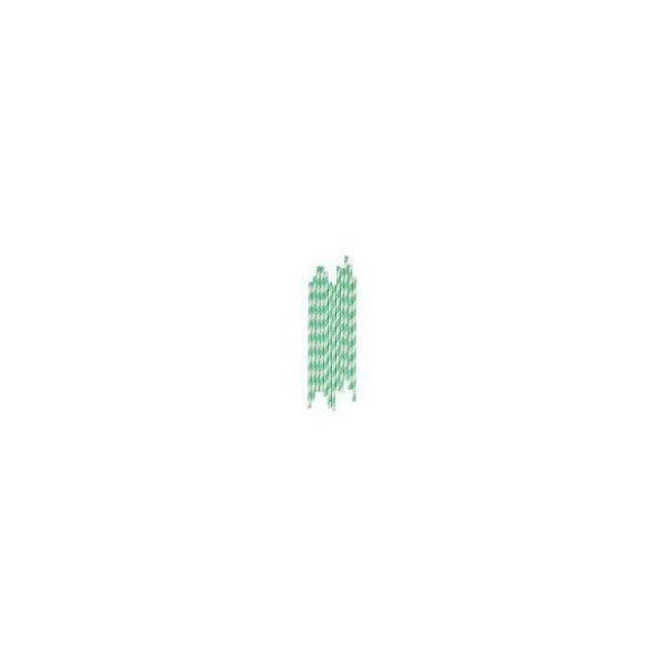 pailles rayées turquoise foncéX25