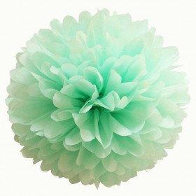 Pompon Fleur Papier de Soie vert d'eau 20cm