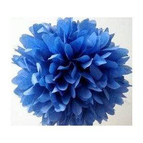 Pompons Fleurs Papier de Soie Bleu Roi 20cm