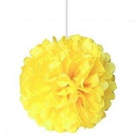 Pompons Fleurs Papier de Soie jaune 20cm