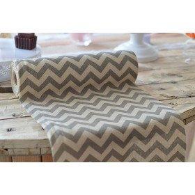 Chemin de table motif chevron gris en lin (29.5cmX10m)