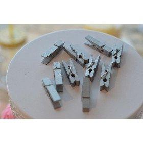 Pince en bois 3.5cm déco ARGENT ou Or (sachet de 10)