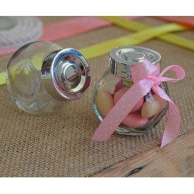 Mini bonbonnière en verre couvercle argent