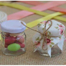 Mini pot confiture hexagonal en verre