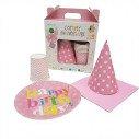 Kit anniversaire fille motif graphique rose/blanc(pour 6)