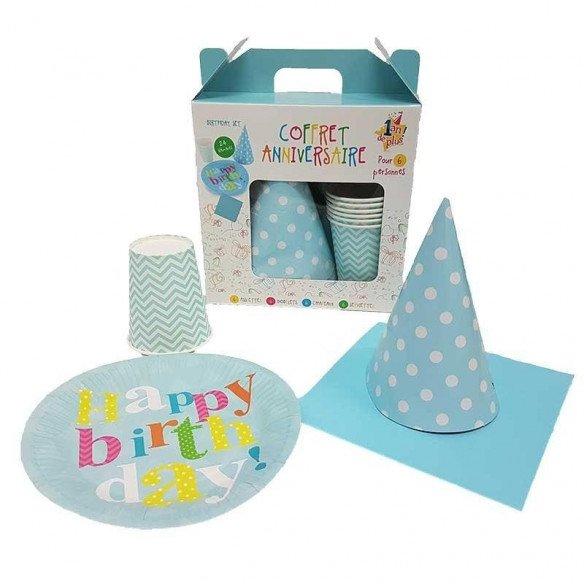 Kit anniversaire garçon graphique bleu/blanc (pour 6)