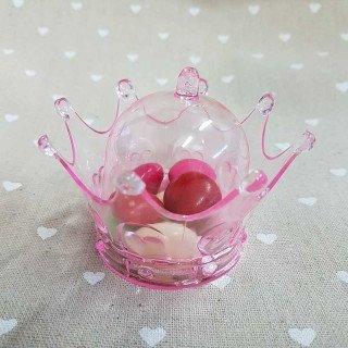 Boite dragées couronne plexi rose clair