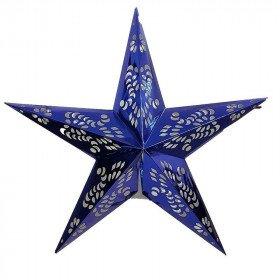 Lanterne étoile bleu roi 60cm