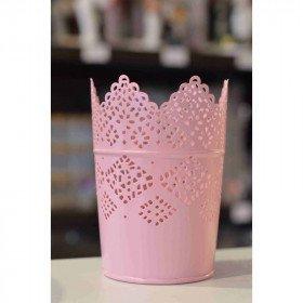 Photophore pot dentelle rose