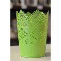 Photophore pot dentelle vert