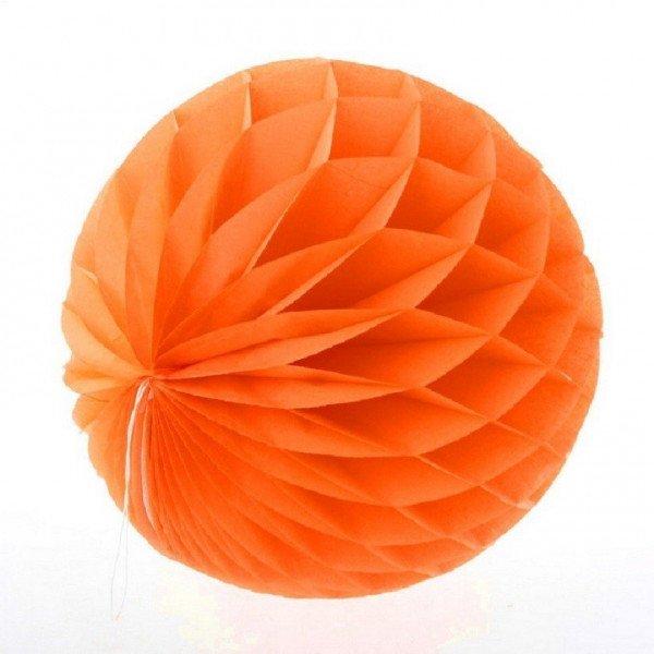 Boule papier alvéolée orange 30cm