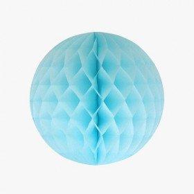Boule alvéolée papier bleu clair 30cm