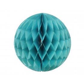 Boule alvéolée papier bleu turquoise 30cm