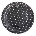 10 assiettes noir à pois blanc