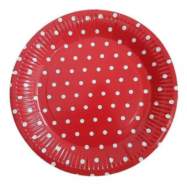 10 assiettes rouge à pois blanc