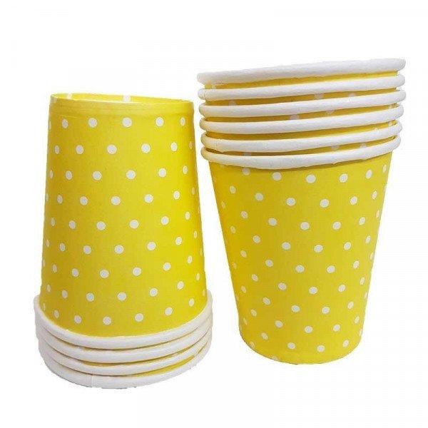 gobelet jaune à pois blanc x10