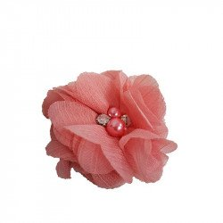 Fleur mousseline corail rosé strass et perles