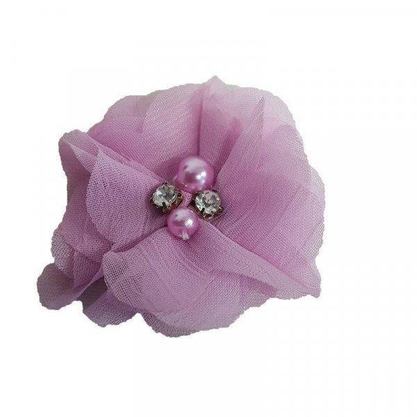 Fleur mousseline parme strass et perles