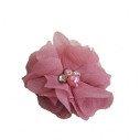 Fleur mousseline vieux rose strass et perles
