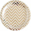10 assiettes blanches chevron or
