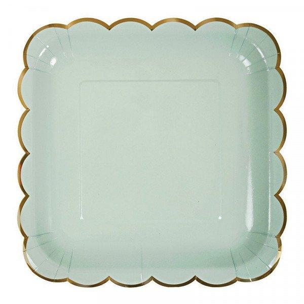 10 assiettes carrée pastel vert d'eau