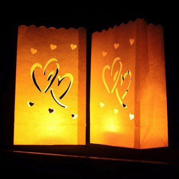 Sachet lanterne papier double coeur X10