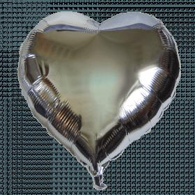 Ballon coeur argent aluminium 45cm