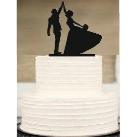 Cake topper silhouette danse mariés