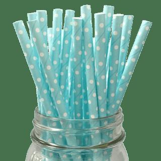 Pailles à pois bleu et blancX25