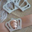 Boucle strass couronne acrylique grand modèle